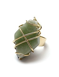 Delicate Gold Alloy Green Jade Fashion Ring