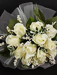 "Wedding Flowers Round Roses Bouquets Wedding Satin Tulle Ivory 11.02""(Approx.28cm)"