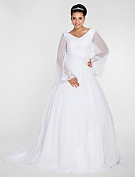 LAN TING BRIDE Plus Size A-line Ball Gown Wedding Dress - See-Through Chapel Train V-neck Chiffon with Appliques Beading