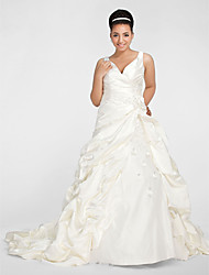 Lanting Ball Gown V-neck Chapel Train Satin Plus Size Wedding Dress