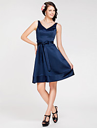 Lanting Bride® Knee-length Satin Bridesmaid Dress - A-line / Princess V-neck / Straps Plus Size / Petite with Sash / Ribbon