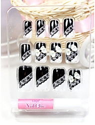 Black Lace Style False Nail Tips