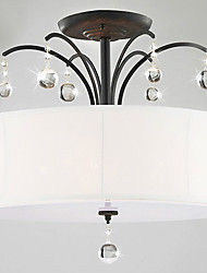 Modern Fabric Flush Mount with 5 Lights White