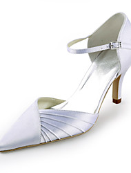 salto saltos sapatas seda stiletto das mulheres / saltos dedo apontado casamento / partido&noite / vestido branco