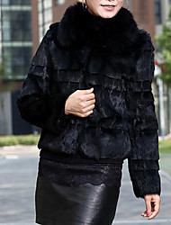 Long Sleeve Office/Evening Rabbit Fur Fox Fur Collar Jacket (More Colors)
