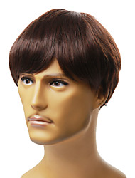 Capless Men's Short Black Straight Hair Wig