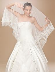 de un nivel de encaje de tul aplique borde vals boda velo con lentejuelas / bordados