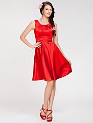 Vestido de Dama de Honor - Rojo Corte A/Corte Princesa Escote Joya - Hasta la Rodilla Satén ElásticoManzana/Reloj de Arena/Triángulo