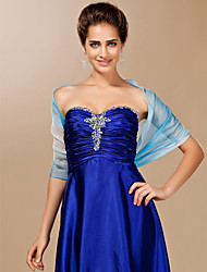 Chiffon With Button Special Occasion Shawl In Blue
