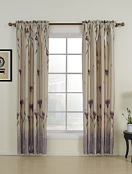 Two Panels Floral  Botanical Purple Bedroom Polyester Panel Curtains Drapes