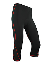 Santic-Mens' Cycling 3/4 Tights/Short Pants Coolmax Material Cycling Red Trace