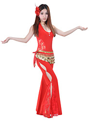 Belly Dance Outfits Women's Performance Crystal Cotton Lace Red Belly Dance Spring / Summer / Fall Sleeveless Dropped