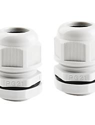 2 шт PG21 белого пластика водонепроницаемые разъемы кабельные вводы для поделок