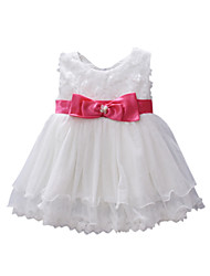A-line Jewel Knee-length Cotton Sleeveless Flower Girl Dress