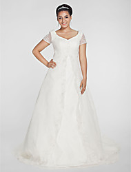 LAN TING BRIDE Plus Size A-line Princess Wedding Dress - Chapel Train V-neck Organza with Appliques Beading