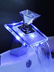 Mitigeur de Lavabo LED à Couleurs Variables, Manche en Verre