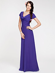 Floor-length Georgette Bridesmaid Dress Sheath / Column Cowl Plus Size / Petite with Side Draping