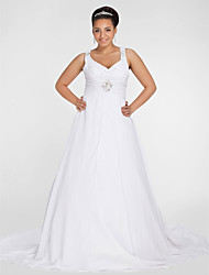 A-line V-neck Chapel Train Chiffon Wedding Dress with Beading Draped Ruche by LAN TING BRIDE®