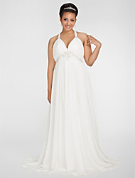 LAN TING BRIDE Plus Size Sheath Column Wedding Dress - Sweep / Brush Train V-neck Chiffon with Beading Draped