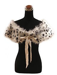 Elegant Faux Fur With Ribbons / Animal Print Party / Evening Shawl / Wrap Bolero Shrug