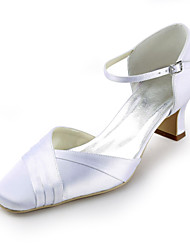 Satin Chunky Heel Square Toe With Ruffles Wedding Bridal Shoes (More Colors)