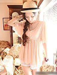 Summer Lady Retro V Neck Shirt