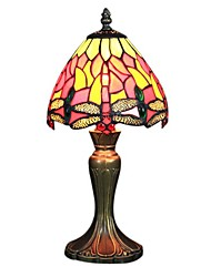 60W Tiffany Glass Table Light with Dragonfly Pattern