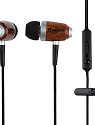 Kanen Mega Bass In-Ear Imitated Wood Earphones with Microphone and Volume Control for Iphone (Brown)