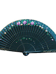 Elegant Green Wooden Hand Fan - Set Of 4