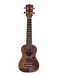 Rainie - (SLG-01) ad alta grande solido ukulele soprano mogano con gig bag / sintonizzatore (pesce rosso tatoo)