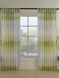 Country Two Panels Floral  Botanical Green Dining Room Polyester Sheer Curtains Shades