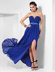 TS Couture® Formal Evening Dress - Furcal Plus Size / Petite Sheath / Column Strapless / Sweetheart Floor-length Chiffon / Stretch Satin with Beading