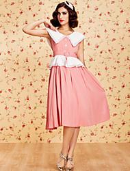 TS Vintage Sleeveless Lapel Swing Dress