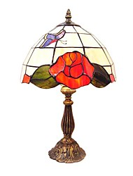 60W Tiffany Glass Table Light with Butterfly Pattern