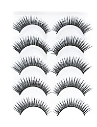 5 Pair Black Handmade lengthening FiberFalse Eyelashes