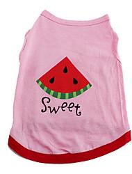 zoete watermeloen katoenen t-shirt vest voor honden (xs-m)