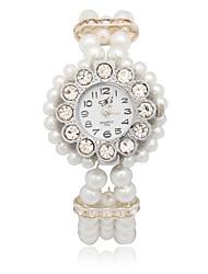 Quartz Movement Round Shape with Pearl Bracelet Watch