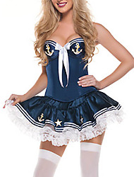 Sexy Blue Polyester Sailor Suit with Ribbon