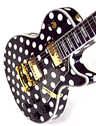 Derulo - (Black & White World) High-Grade Mahogany White Dot Electic Guitar with Bag/Strap/Picks/Cable/Whammy Bar