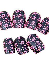 Full Cover Pink Skull Style Plastic Acrylic Nails Tips