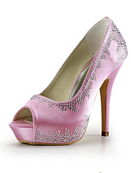 Satin Stiletto Heel Pumps / Platform With Rhinestone Wedding Party Women's Shoes