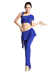 Belly Dance Outfits Women's Training Viscose Ruffles 2 Pieces Short Sleeve Natural Top / Pants