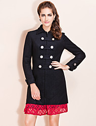TS Military Style Double Breast Slim Long Coat