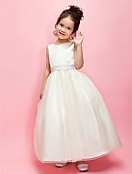 A-line Ball Gown Ankle-length Flower Girl Dress - Satin Tulle Jewel with Bow(s) Sash / Ribbon