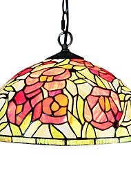 60W 1 - Light Luce Tiffany Glass pendent con il motivo Roses