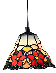 60W Tiffany Pendant Light with 1 Light Red Flower Pattern