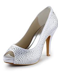 Pfennigabsatz Satin Peep Toe Pumps mit Kristall Hochzeit / Party Schuhe (weitere Farben)
