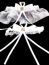 2-Piece Organza With Rhinestone/Ribbons Wedding Garters