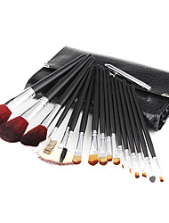 18 Pieces Artificial Fibre Makeup Brushes Set with Leather Case