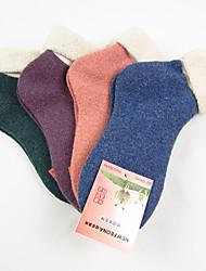 refinados de moda grossas meias de lã